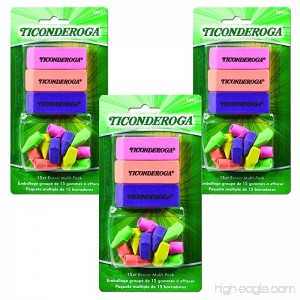 Ticonderoga Office and School Eraser Combination Set 15 Eraser Multi-Pack Multicolored (38931)(3Pack) - B00NGVCMF6
